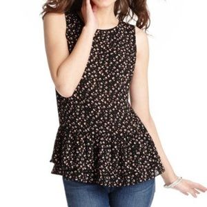 Loft Mini Flower Print Button Back Peplum A105
